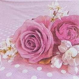 9665. Розы на розовом. 5 шт., 10 руб/шт