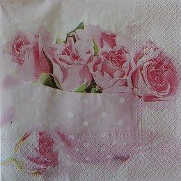 20258. Розовые розы в чашке. 10 шт., 22 руб/шт