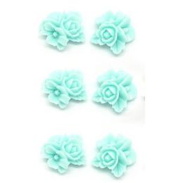 hm-1276. Кабошон Цветок, цвет мята, 5 шт., 11 руб/шт