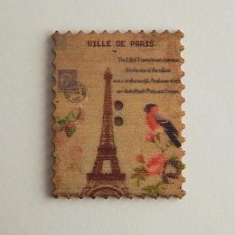 hm-1470. Пуговица Марка с Парижем, бежевая