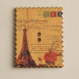 hm-1474. Пуговица Марка с розой Парижа, бежевая
