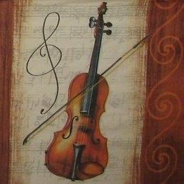 12052. Скрипка и коричневый бордюр