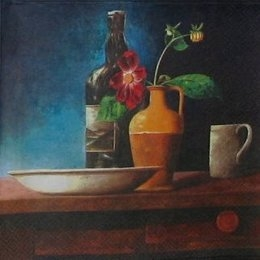 12054. Бутыль и ваза на темном
