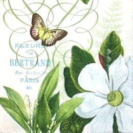 12079. Белый цветок и бабочка. 5 шт., 20 руб/шт