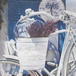 12195. Лаванда в ведре на велосипеде