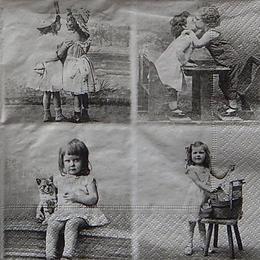 12426. Коллаж с девочкой с котёнком. 10 шт., 27 руб/шт