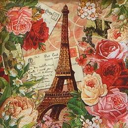 12436. Эйфелева башня в розах. Punch Studio. 20 шт., 15 руб/шт