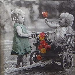 12477. Два ребенка с тележкой