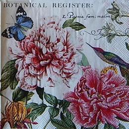 12498. Пионы с бабочкой и птицей
