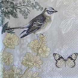 12524. Птица с бабочкой на сером. 5 шт., 23руб/шт