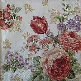 12541. Садовые цветы на белом