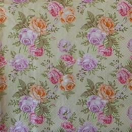 12542. Цветные розы на бежевом. 10 шт., 14 руб/шт