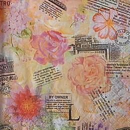 12665. Роза на розовых письменах . 10 шт., 21 руб/шт