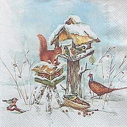 12713. Белка с птицами