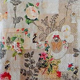 12786. Коллаж цветы и бабочки. 5 шт., 20 руб/шт