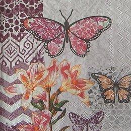12886. Бабочки и лилии