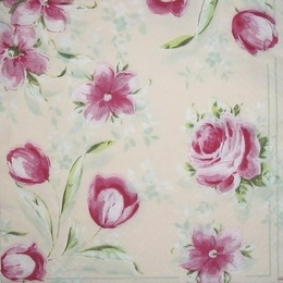 1295. Розовые цветы на бежевом