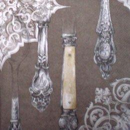 1543. Столовые приборы на бежевом. 5 шт., 10 руб/шт