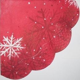 1611. Снежинки на красном. 5 шт., 8 руб/шт