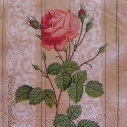 2219. Роза на бежевом узоре. 15 шт., 6 руб/шт