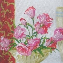 2561. Тюльпаны в вазе. Двухслойная. Букет. 5 шт, 6 руб/шт