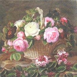 3108. Корзина с розами. 5 шт., 23 руб/шт