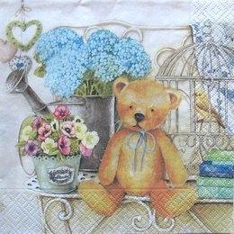 3209. Мишка и цветы. 5 шт, 23 руб/шт
