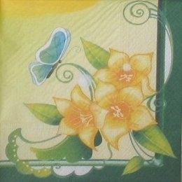 3932. Желтые цветы и бабочка. 5 шт., 10 руб/шт