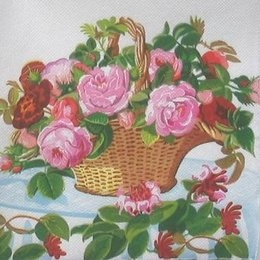 4335. Корзина с розами. Двухслойная. 20 шт, 4.5 руб/шт