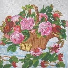 4335. Корзина с розами. Двухслойная. 10 шт, 6 руб/шт