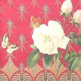 8261. Роза с бабочками на бордо