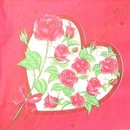 8336. Розы в сердце на бордо.
