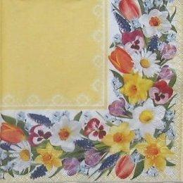 8688. Цветочный бордюр на желтом. 5 шт., 10 руб/шт
