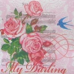 9047. Розовые розы на нотах. Двухслойная
