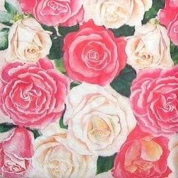 9079. Россыпь красных и белых роз