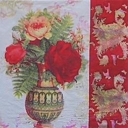 9234. Ваза цветов с красным бордюром.