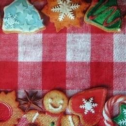 9290. Печенье на красно-белой клетке