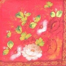 9344. Цветы на красном с бордюром.