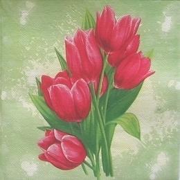 9390. Тюльпаны на зеленом. Двухслойная. 20 шт., 4.5 руб/шт