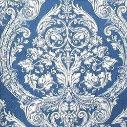9419. Белые вензеля на синем. 20 шт., 5 руб/шт