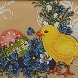 9553. Цыпленок на фоне цветов