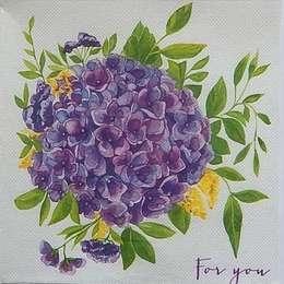 9591. Сиреневые цветы. Двухслойная. 5 шт., 8 руб/шт
