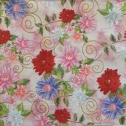 9605. Мелкие цветы на розовом. 10 шт, 7 руб/шт