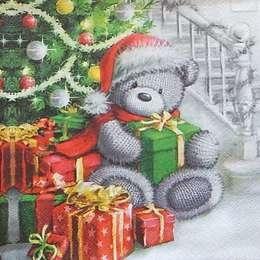 9646. Мишка с подарками под елкой