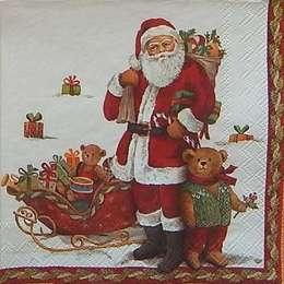 9651. Санта Клаус и медведи с бордюром