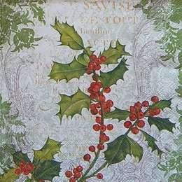 9655. Рождественская ягода с зеленым узором