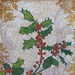 9656. Рождественская ягода с золотым узором