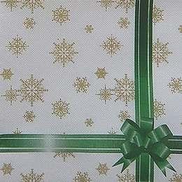 9658. Снежинки с зеленой лентой. Двухслойные