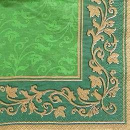 9664. Узоры на зеленом с золотым бордюром