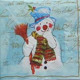 9675. Снеговик на голубом. 10 шт., 7 руб/шт